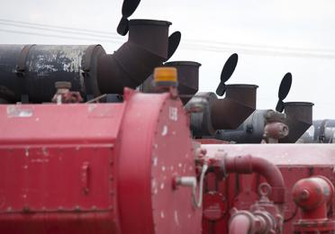 High pressure compressors on Fort Worth frackingsite, Texas, USA - Exploration & Production - Total