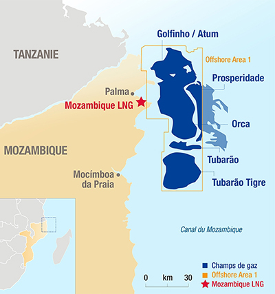 Carte des champs de gaz du projet Mozambique LNG - Exploration-Production - Total