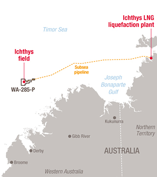 Localization map of the Ichthys project- Exploration & Production - Total
