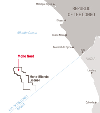 Map Moho Nord project, Congo - Exploratin & Production - Total
