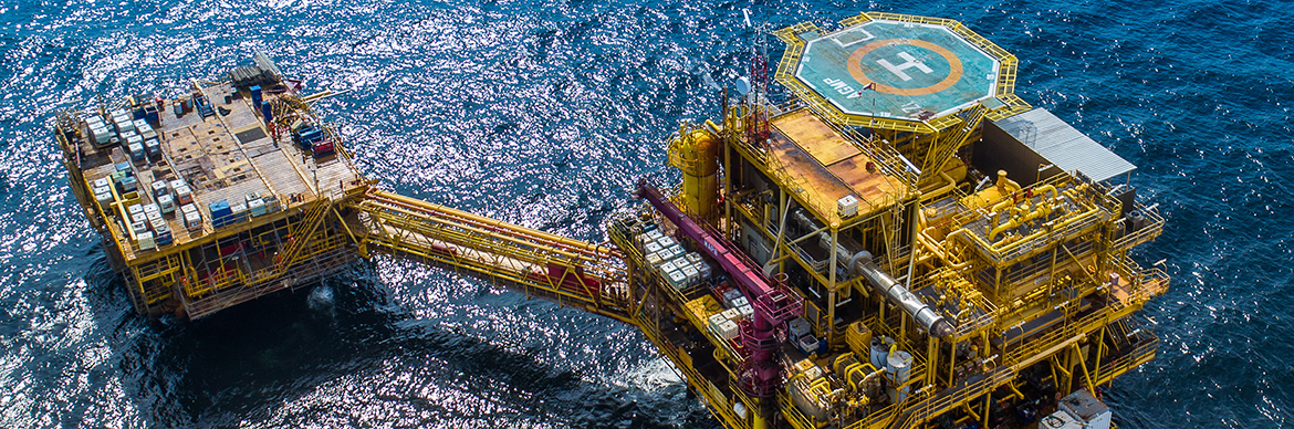 Aerial view over Anguille platform, Gabon - Exploration & Production - Total