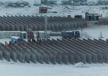 Piles, dug twenty meters in permafrost, on which the plant will be built - Yamal liquefied natural gas production station - Exploration Production - TotalEnergies