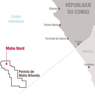 Carte projet Moho Nord, Congo - Exploration-Production - Total