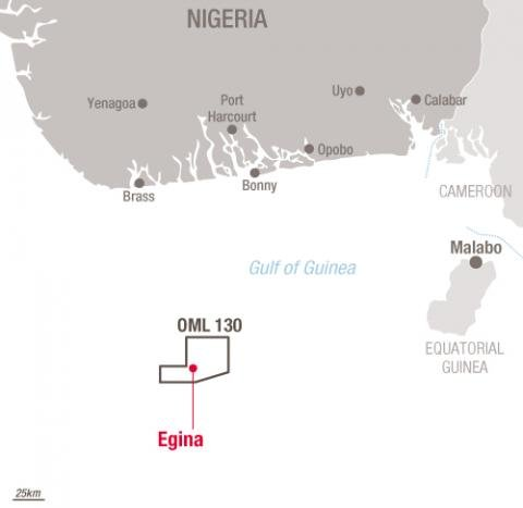 Map localization Egina project - Exploration & Production - Total
